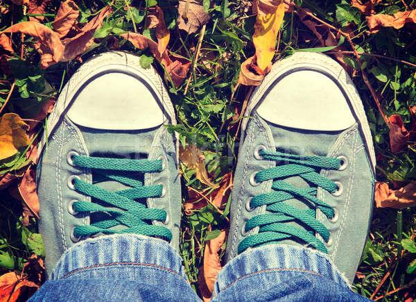 Foto stock: Sapatos · masculino · verde · amarelo · mulher · folha