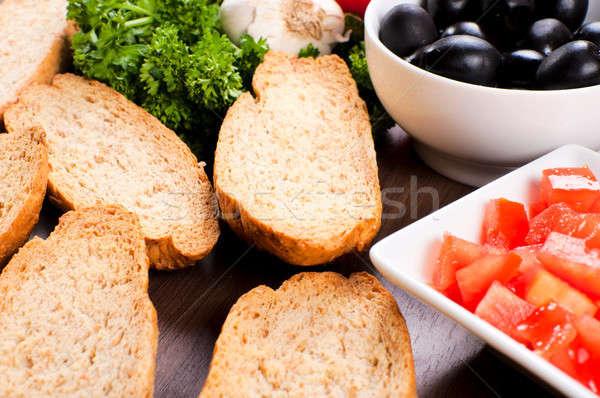 Bruschetta hozzávalók szelektív fókusz kenyér középső sajt Stock fotó © badmanproduction