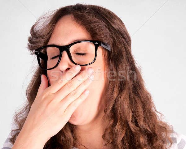 Assonnato femminile sporca bianco mano capelli Foto d'archivio © badmanproduction