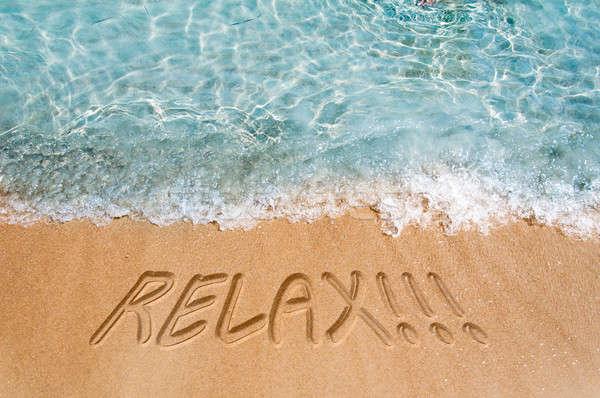 Foto stock: Relaxar · assinar · areia · da · praia · praia · água · natureza