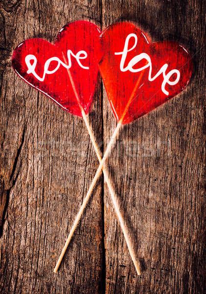 赤 愛 キャンディー 心臓の形態 木製 テクスチャ ストックフォト © badmanproduction
