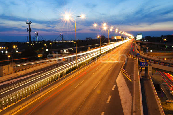 Highway at night Stock photo © badmanproduction