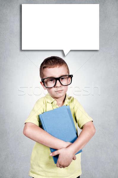 Szomorú fiú könyvek kéz iskola jókedv Stock fotó © badmanproduction