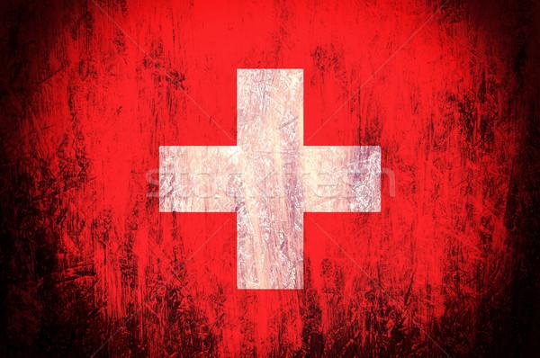 Foto stock: Suíça · bandeira · velho · edifício · madeira