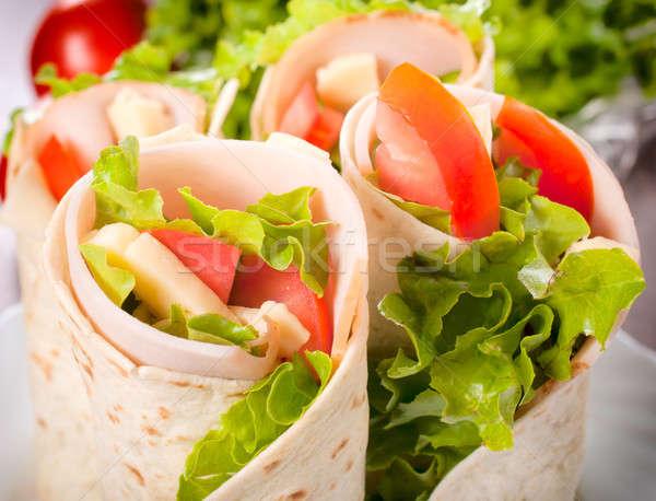 Tortilla Turquía hortalizas atención selectiva alimentos Foto stock © badmanproduction