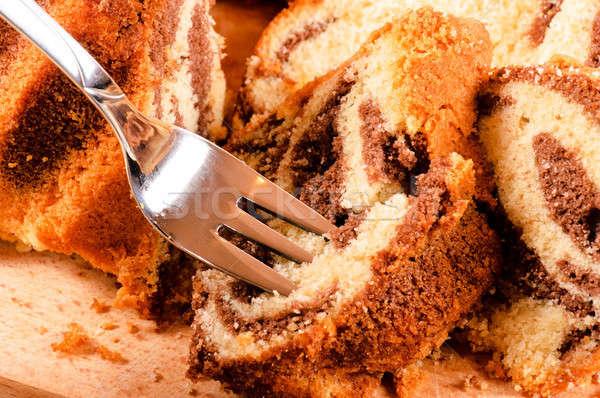 Cake on fork Stock photo © badmanproduction