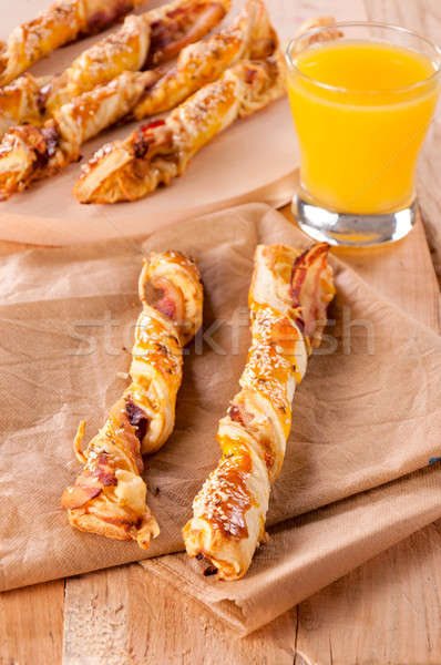 Spek kaas glas restaurant brood plaat Stockfoto © badmanproduction