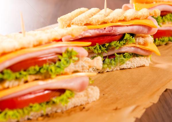 Klub szendvicsek szelektív fókusz második klub szendvics étel Stock fotó © badmanproduction