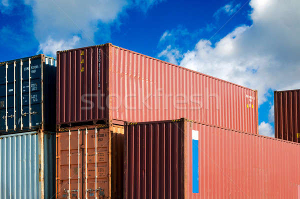 Transport Schiff blauer Himmel Metall LKW blau Stock foto © badmanproduction