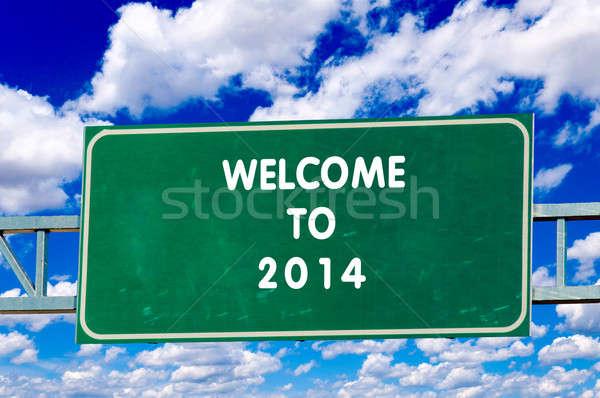 Benvenuto 2014 segno cielo strada autostrada Foto d'archivio © badmanproduction