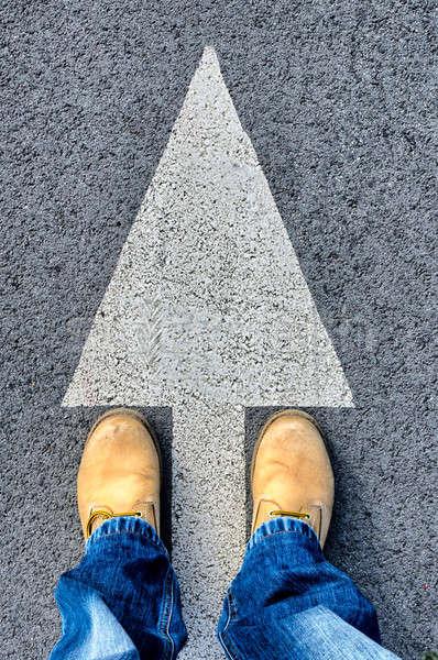 汚い ブーツ 黄色 道路 通り にログイン ストックフォト © badmanproduction