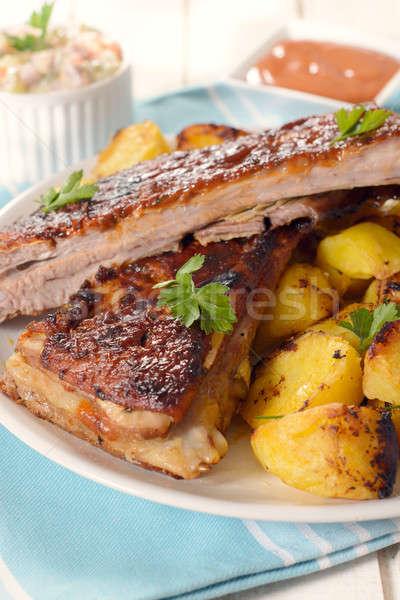 Stock fotó: étel · idő · tányér · sült · krumpli · marhahús