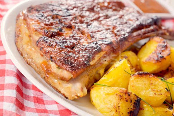 Stock fotó: Borda · krumpli · marhahús · sült · étel · hús