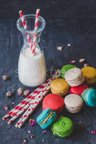 Сток-фото: молоко · Cookies · бутылку · красочный · домашний · любви