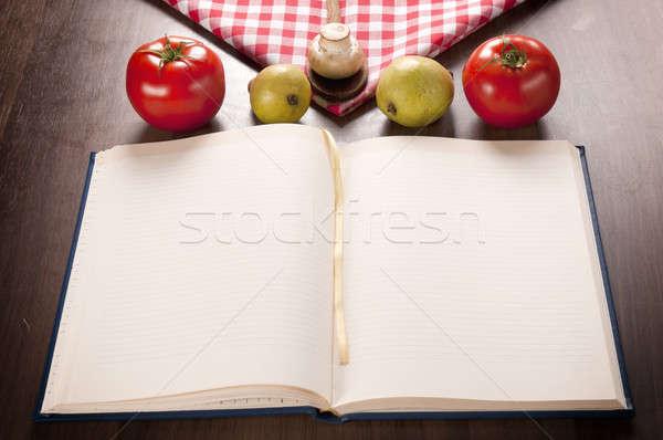 Książka kucharska żywności pusty drewniany stół tle Zdjęcia stock © badmanproduction