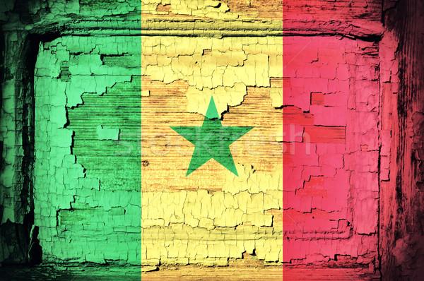 Senegal vlag oude houten natuur ontwerp Stockfoto © badmanproduction