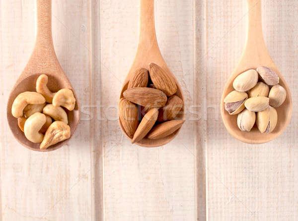 Stock fotó: Diók · merőkanál · kesudió · fából · készült · természet · egészség