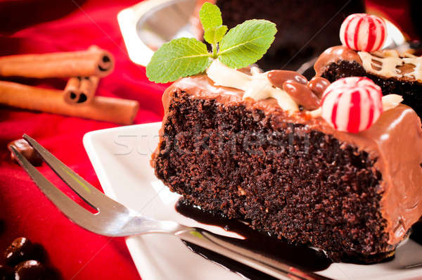 Piece of chocolate cake with icing  Stock photo © badmanproduction