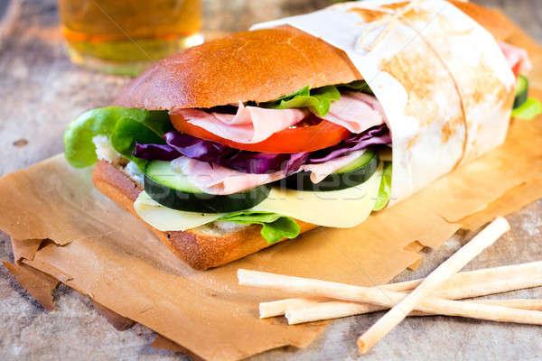 ストックフォト: ビッグ · サンドイッチ · 新鮮な · ハム · フォーカス · 春