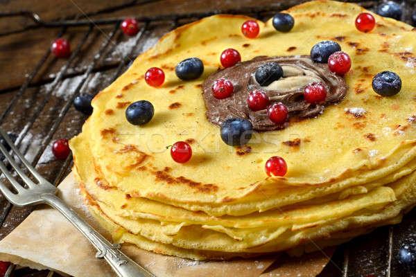 Berry fruit and pancakes Stock photo © badmanproduction