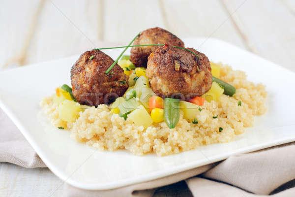 Couscous carne prato salada legumes Foto stock © badmanproduction