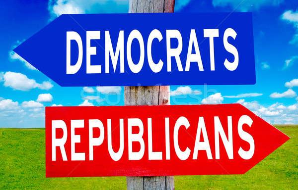 Republicano democrata assinar natureza paisagem azul Foto stock © badmanproduction