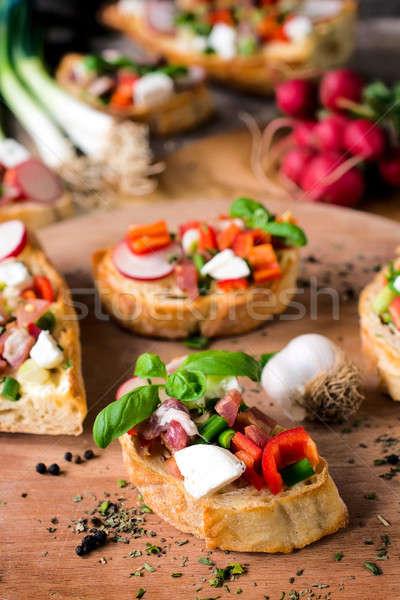 Baked bruschettas Stock photo © badmanproduction