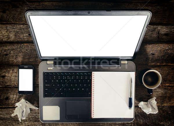 Dizüstü bilgisayar ekran cep telefonu iş bilgisayar Internet Stok fotoğraf © badmanproduction