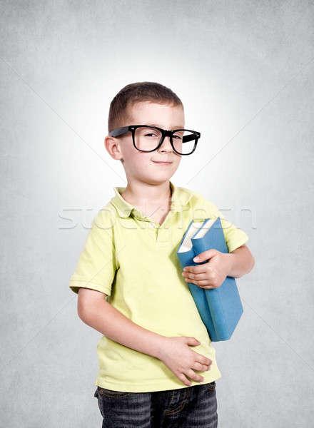 Stockfoto: Smart · jongen · boeken · onderwijs · grappig