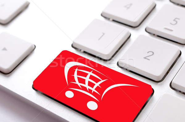 Knop Rood toetsenbord ontwerp teken sleutel Stockfoto © badmanproduction