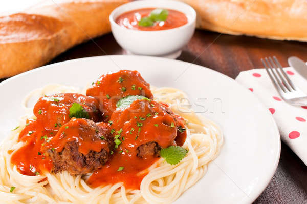 Spageyyi and meat Stock photo © badmanproduction