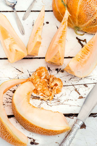 Meloen zoete organisch houten Stockfoto © badmanproduction