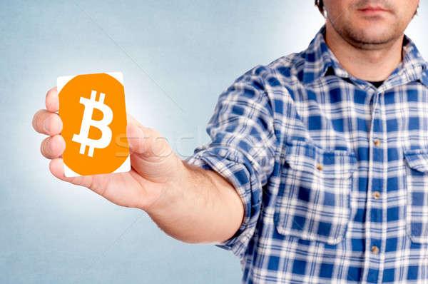 Bitcoin kart seçici odak iş para adam Stok fotoğraf © badmanproduction