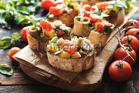 Served bruschettas Stock photo © badmanproduction