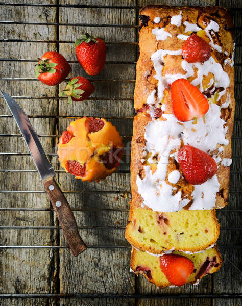 Strawberry bread from above Stock photo © badmanproduction