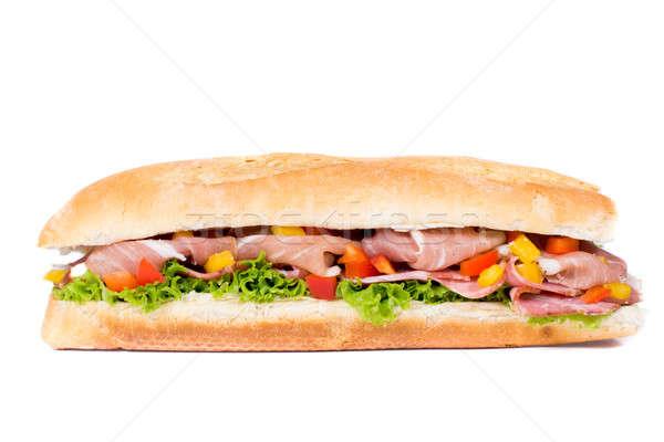Сток-фото: изолированный · сэндвич · белый · овощей · прошутто · продовольствие
