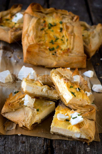 Cheese pastry slices Stock photo © badmanproduction