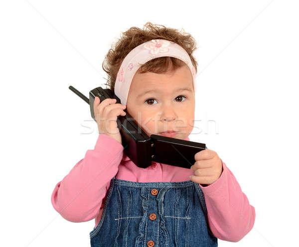 ストックフォト: 子 · 電話 · 女の子 · 古い · ファッション