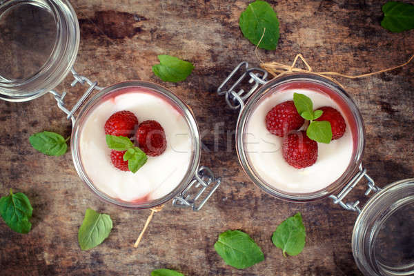 Panna cotta from above Stock photo © badmanproduction
