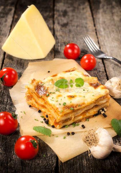 イタリア語 ラザニア 伝統的な フォーカス 食品 健康 ストックフォト © badmanproduction