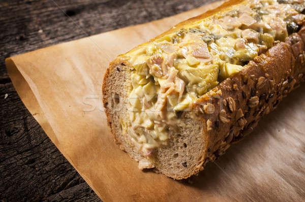 Sandwich groot gevuld russisch salade achtergrond Stockfoto © badmanproduction