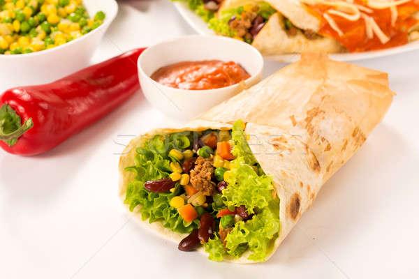 Stockfoto: Tijd · selectieve · aandacht · voedsel · gezondheid · restaurant