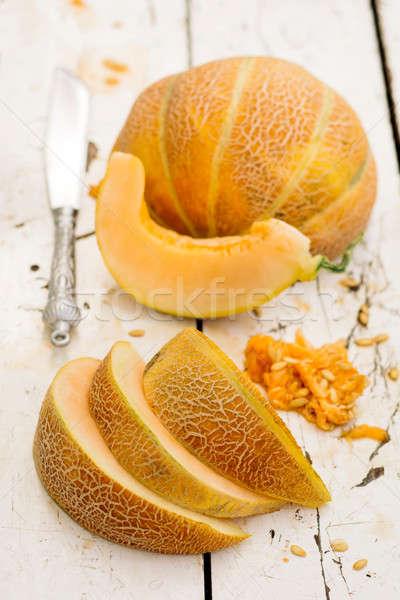Meloen tabel zoete organisch houten Stockfoto © badmanproduction