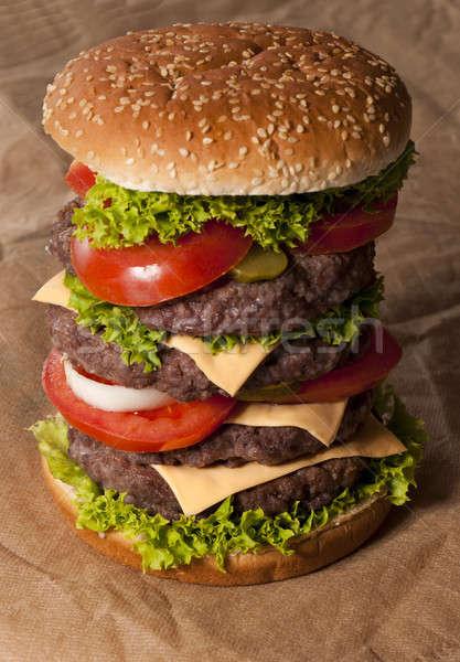 Сток-фото: большой · Burger · говядины · овощей · избирательный · подход · содержание