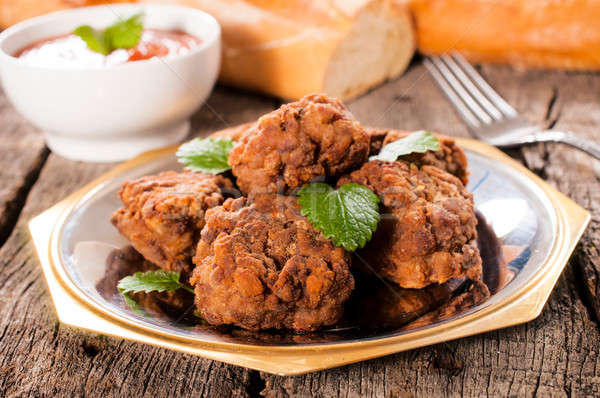Meat balls on plate Stock photo © badmanproduction