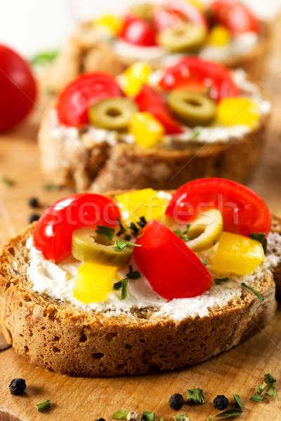 свежие брускетта сэндвич Focus Сток-фото © badmanproduction