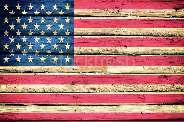 Stok fotoğraf: Amerikan · bayrağı · soyut · ahşap · kâğıt · ağaç · Bina