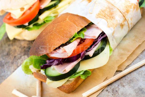 ストックフォト: サンドイッチ · 時間 · 選択フォーカス · フロント · 春 · 食品