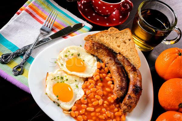 Ontbijt tijd eieren focus voedsel plaat Stockfoto © badmanproduction