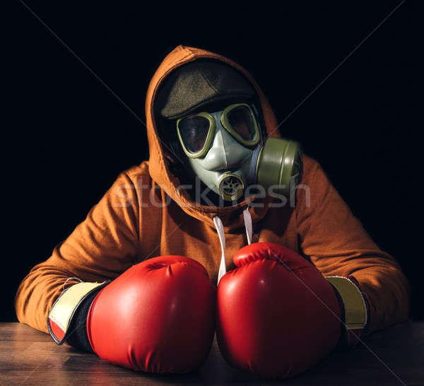 Atomi férfi portré ijesztő gázmaszk box Stock fotó © badmanproduction